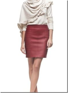 burgandy leather skirt