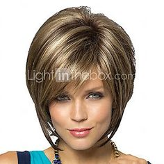 New Stylish Synthetic wigs Pixie cut wig Short Straight hair Brown with blonde Highlights wig for women Glamorous Fashion Medium Bob Hairstyles, Wig Hairstyles, Straight Hairstyles, Layered Hairstyles, Pixie Cut Wig, Pixie Cut With Bangs, Brown With Blonde Highlights, Hair Highlights, Brown Blonde