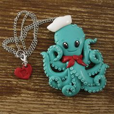 Sailor Octopus Necklace by rapscalliondesign on Etsy, $35.94
