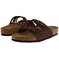 Birkenstock Granada Soft Footbed Women's Sandals ($135) ❤ liked on Polyvore featuring shoes, sandals, special occasion shoes, cork footbed sandals, narrow shoes, narrow sandals and arch support sandals
