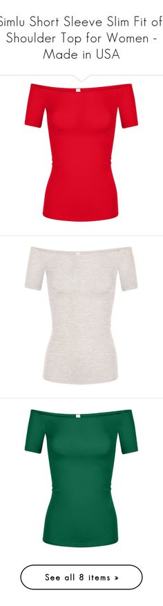"""Simlu Short Sleeve Slim Fit off Shoulder Top for Women - Made in USA"" by simlu-clothing ❤ liked on Polyvore featuring tops"