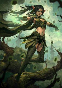 Female Elf Druid - Pathfinder PFRPG DND D&D d20 fantasy