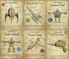 vintage space printables perfect for steampunk kids room Vintage Robots, Retro Robot, Space Printables, Free Printables, Images Vintage, Vintage Posters, Vintage Cards, Vintage Prints, Retro Posters