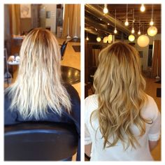 hair extensions and softened blonde by dkwstyling