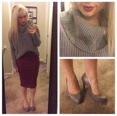Sweater: Gabes (old), Skirt: Old Navy, Pumps: Nine West via Marshall's, Lip: MAC 'Rebel'