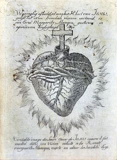 Description- Engraving of the Sacred Heart of Jesus Christ, according a vision of Marguerite Marie Alacoque, 18th century. Musée du Coeur, MRAH, Jubilee Park, Brussels. Date 20 November 2011 Author Vassil
