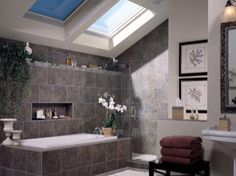 Skylight in the bathroom to let in some nice natural light! Grey Bathrooms, Modern Bathroom, Small Bathroom, Master Bathroom, Family Bathroom, Bathroom Vinyl, Diy Bathroom Decor, Bathroom Ideas, Bath Ideas
