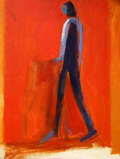 Jamie Chase- Going Places III- Matthews Gallery #art #artist #jamiechase #artworld #painter #painting #acrylic #acrylics #red #orange #figurative #figure
