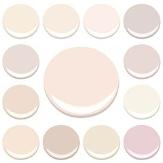 MY FAVORITE INTERIOR PINKS...ALL BENJAMIN MOORE -CLOCKWISE FROM TOP LEFT - AMBROSIA, BLANCHED CORAL, FROSTED PETAL, ORGANDY, PAISLEY PINK, PINK DAMASK, PINK INNOCENCE, PRISTINE, SOUTHERN COMFORTSHEER PINK, TISSUE PINK, WILD ASTER