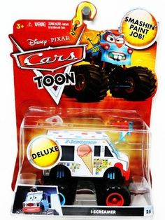 Disney / Pixar CARS TOON 155 Die Cast Car Oversized Vehicle IScreamer by Mattel Toys. $12.95. New Car Toons based on animated shorts from Disney and Pixar. Recommended for ages 3 and up. Features monster truck size tires with attitude. Kids can play out there favorite character moments. Oversized Die cast vehicle of iScreamer. The adventure keeps rolling on! Inspired by the new Cars Toon animated shorts, these character cars let kids play out the fun of the animated advent...