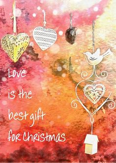 Love Is The Best Gift For Christmas Greeting Card by Dorothy Berry-Lound.  A wonderful Christmas Greeting Card with the written greeting 'Love is the best gift for Christmas'. The design includes hearts,a heart being the symbol for love, a bird and a little home, symbol of contentment. The design has a background of shades of pink, again the colour of love, and the suggestion of falling snow. Available in packs of 10 or 25 cards.