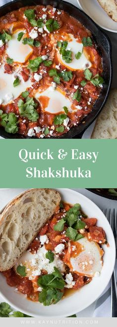 Learn how make shakshuka with this delicious recipe. Made with poached eggs in a spicy tomato sauce, this quick and easy shakshuka with feta works well for breakfast, lunch or dinner.