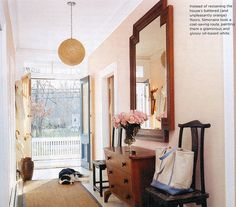 great entry - love the dresser  shape of the mirror