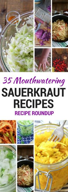 MOUTHWATERING Sauerkraut Recipes [Roundup Post] A collection of 35 sweet, savory and spicy sauerkraut recipes - and Kimchi - from around the web. You're sure to find a recipe to tantalize your taste buds. via collection of 35 sweet, savor Sauerkraut Recipes, Cabbage Recipes, Making Sauerkraut, Fermented Sauerkraut, Fermented Cabbage, Fermentation Recipes, Canning Recipes, Probiotic Foods, Fermented Foods
