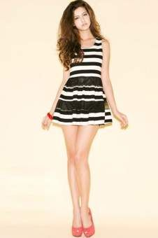 Girlfriend Material · Striped Sleeveless Zipped Bound Waist Mini Dress  Scarf Styles 42d372107