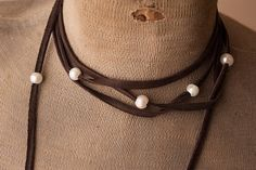Sandra Ling Chocolate Leather and Pearl Necklace Wrap