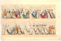 Queen Victoria (Alexandrina Victoria) (1819-1901) & husband Prince Albert (Albert Francis Charles Augustus Emmanuel) (1819-1861) of Saxe Coburg & Gotha. Depiction in two tiers of part of Queen Victoria's formal procession to the Chapel Royal to solemnize her marriage to Prince Albert. Lithograph hand-colored by Lefevre & Kohler.