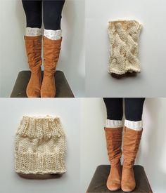 2 Knitting Patterns, Ana Cable Boot Cuffs Knitting Pattern & Basic Boot Cuffs Knitting Pattern - Digital PDF 2 Knitting Patterns -
