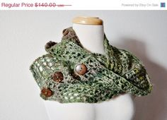 on sale through 11/11! Hand Knit Scarf  FAUN Forest Cowl/Chunky Lace Knit by awkward
