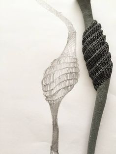"""Architextile  necklace(detail) by Frederique coomans. silver, cooper."