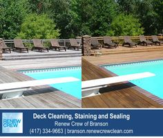 http://branson.renewcrewclean.com/ – Wooden decks around swimming pools need good care to avoid splinters and foot injuries to swimmers. Our deck cleaning process works great around pools and hot tubs because it contains no harsh chemicals. We serve Branson and surrounding areas. Free estimates.