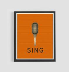 Sale, Printable Retro Print, 50% OFF, microphone, old school, modern, poster, dorm room, teenage room, singing, music