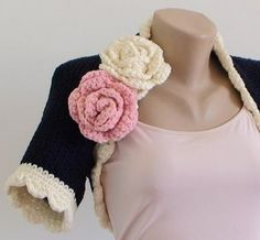 Crochet rose pattern...the crop would be cute for the girls too