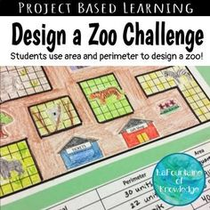 In this project based learning activity, students design their own zoos. They must adhere to the minimum size for animal enclosures and other project guidelines as they construct their zoos. Math Resources, Math Activities, Educational Activities, Area And Perimeter, Perimeter Games, Perimeter Worksheets, Maths Area, Math Measurement, Math Fractions