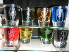 Set of 8 shot glasses Skyrim 7 Magic schools and the von AtomicSnot, $40.00