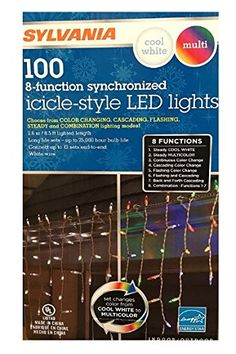 Sylvania Christmas Lights 100 IcicleStyle Led Lights 8Function Color Changing Warm White Multi Color Connectable 2 box 200 count *** You can get more details by clicking on the image.-It is an affiliate link to Amazon. #SeasonalDecor