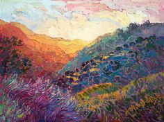$9,500  48 x 36   oil on canvas,   2016  Contemporary American impressionism oil painting inspired by Carmel Valley, California, by artist Erin Hanson.