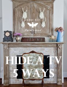 Home Decor Recibidor 5 Different Ideas and Ways to hide the TV in your home - Cedar Hill Farmhouse Hide Tv Over Fireplace, Above Fireplace Ideas, Fireplace Bookcase, French Decor, French Country Decorating, Cheap Home Decor, Diy Home Decor, Cedar Hill Farmhouse, Tv Covers