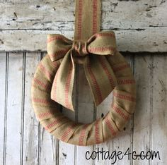 Wreath Made With Jute Upholstery Webbing