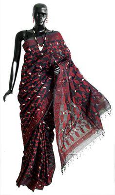 Black Bengal Cotton Tangail Saree with Woven Red and Golden Zari Dhakai Jamdani Design All-Over (Cotton))