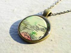 Handmade antique Skiathos map necklace - special gift idea - M4754CP