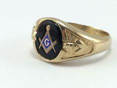 Masonic Signet Ring  Men's Gold Masonic Ring  by EstateJewelryMama