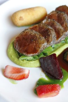 Tokara Restaurant - Springbok with potato croquettes, roasted beetroot, strawberries & pepper jus Potato Croquettes, Top Restaurants, Beetroot, Cape Town, Strawberries, Wines, South Africa, Roast, Stuffed Peppers