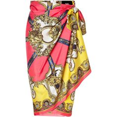 D DOLCE & GABBANA Multicolor Printed Wrap Skirt ($325) ❤ liked on Polyvore