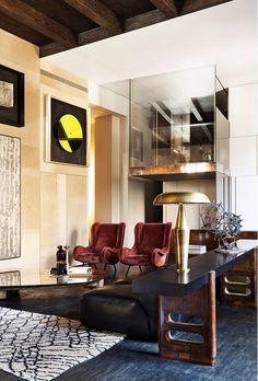 Velvet armchairs in traditional yet modern living room