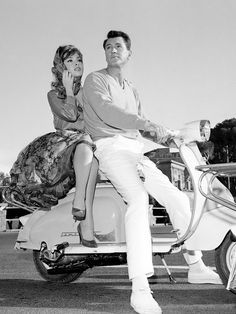 Italian Vintage Photographs ~ Gina Lollobrigida and Rock Hudson with a Lambretta in Come September, 1961