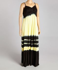 Look what I found on #zulily! Lemon & Black Sleeveless Maxi Dress - Plus by CLUB Z #zulilyfinds