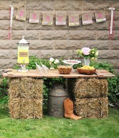 hay bale & door table