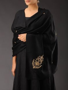 Buy Black Golden Zari Medallion Leaf Cashmere Wool Shawl Accessories Shawls Classic Emblaze Colorful Embellished in Online at Jaypore.com or visit www.richadesigns.in