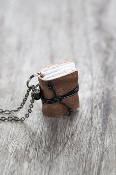 Leather miniature book necklace, mini book jewelry, book lover literature, eco friendly necklace pendant, steampunk journal necklace - brown...
