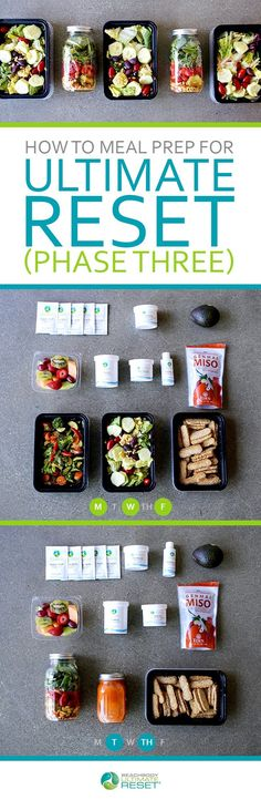 In Phase Three of the Ultimate Reset youll refine your diet by cutting back on grains and eating mainly fruits and vegetables. This guide will help you make your meals for the next five days. // meal prep // meal planning // meal prepping // Ultimate Re Beachbody Ultimate Reset, Body Reset, Clean Eating, Healthy Eating, Healthy Meals, Diet Meals, Healthy Habits, Healthy Food, Menu Dieta