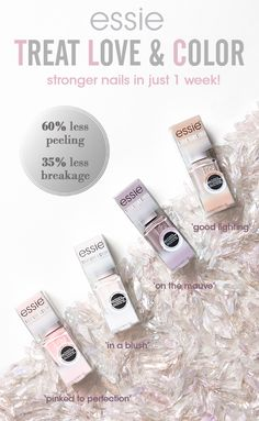 give your nails some TLC with NEW treat love & color. our first advanced 1-step care & color nail polish! nails look instantly perfected and polished with visually brightening pigments in the prettiest of sheer, crème and shimmer nail polish shades. experience stronger nails in just one week with 60% less peeling and 35% less breakage! essie treat love & color nail treatment comes in a range of shades - from baby pink to nude gray tones to creamy mauve nail polish colors. shop now on…