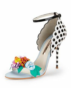 Lilico Floral-Detail Open-Toe Pump by Sophia Webster at Neiman Marcus.