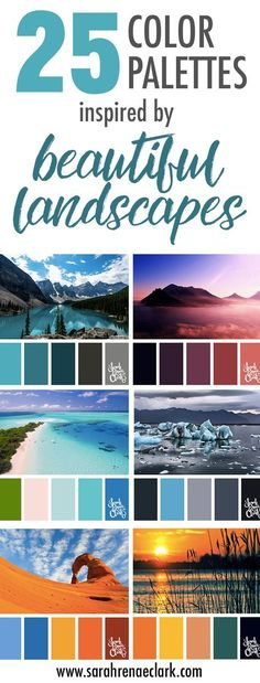 25 Color Palettes Inspired by Beautiful Landscapes These amazing landscapes are a great source of color inspiration Colour Pallette, Color Palate, Color Combos, Color Schemes Colour Palettes, Mood And Tone, Colour Board, Color Theory, Copic, Beautiful Landscapes