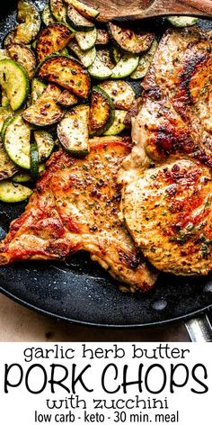 Topped with a creamy garlic butter sauce, theseFried Pork Chops with Zucchiniare a tender and delicious low carb dinner recipe. These easy and healthy pork chops are going to become a family favorite weeknight meal! #porkchops #friedporkchops #porkchopsrecipe #garlicbutterporkchops #howtomakeporkchops #bestporkchops #easyporkchops #easydinneridea Healthy Pork Chops, Healthy Pork Recipes, Low Carb Dinner Recipes, Pork Chop Recipes, Cooking Recipes, Best Fried Pork Chops, Easy Low Carb Meals, Zucchini Dinner Recipes, Ground Meat Recipes