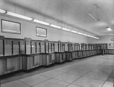 """""""Are the public really after the date stamp?"""": Photograph albums of post office interiors in POST 91 Photograph Album, Post Office, Office Interiors, Buildings, Public, Snail Mail, Album Photos"""
